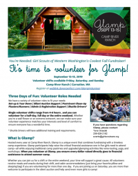 – Glamp Fundraiser to Send Girls to Camp Girl Scouts of Western Washington's Camp River Ranch